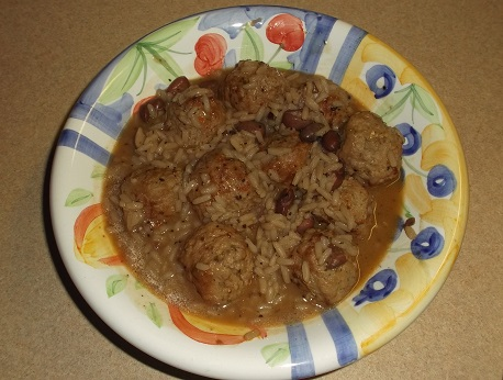 easy healthy meal meatballs and red rice and beans