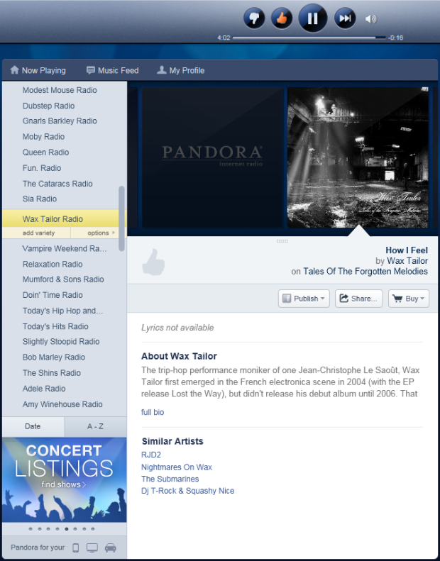 A screengrab of my Pandora stations.