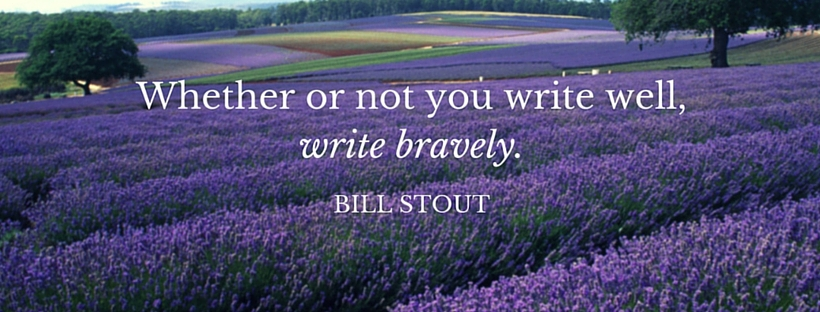 Image of lavender fields and a quote by Bill Stout.