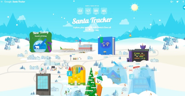 Screenshot of Google's Santa Tracker 2015